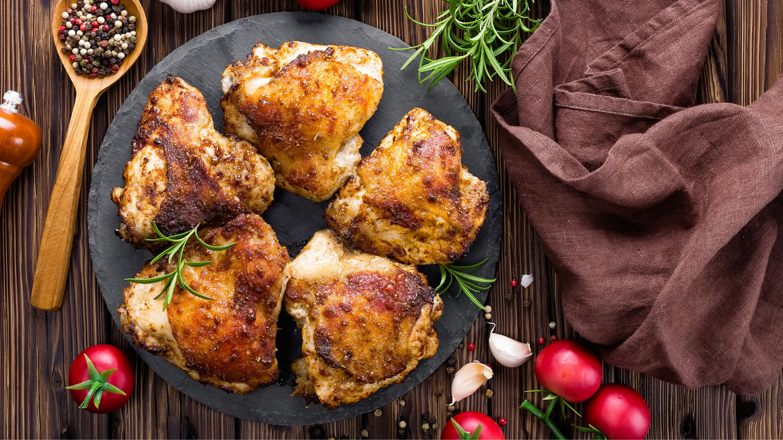 Crispy Chicken Thighs with Rosemary and Garlic